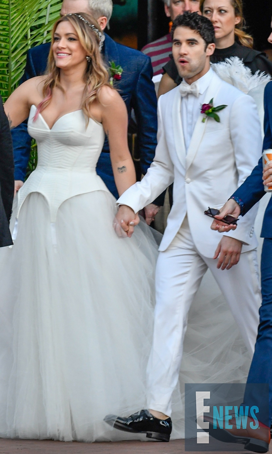 The Mr. & Mrs. -  Mia Swier and Darren Criss exit the Ace Hotel in New Orleans as husband and wife.