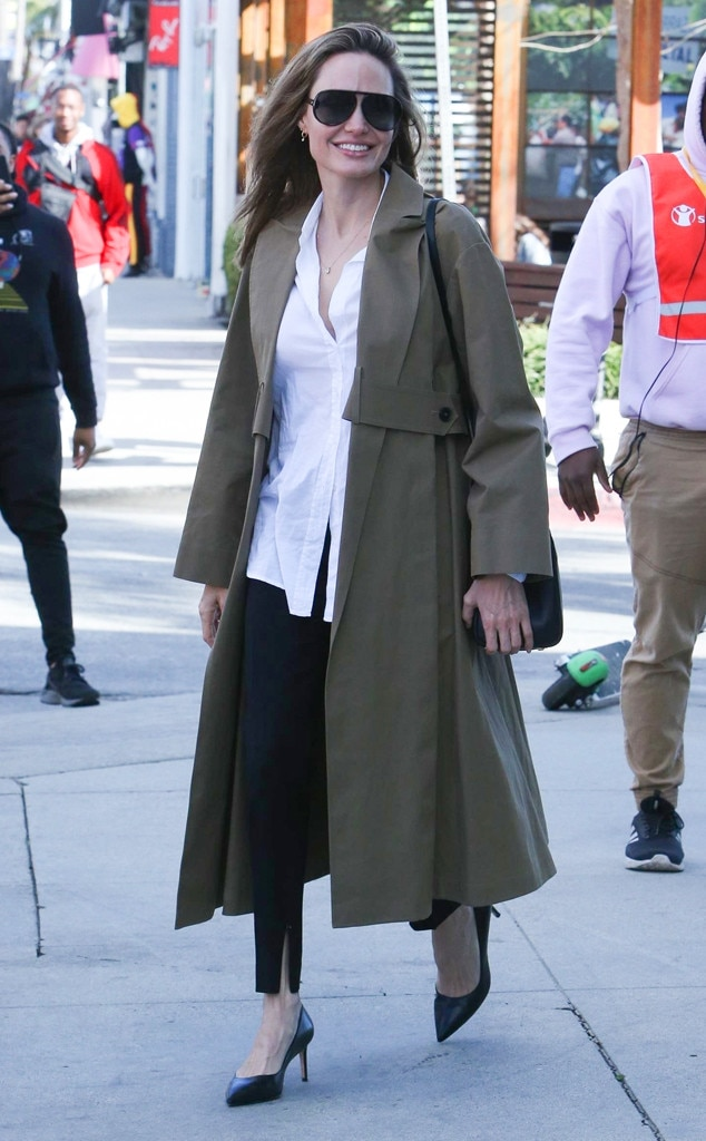 Angelina Jolie -  The Oscar winner shows off her glowing smile while shopping on Melrose Ave.