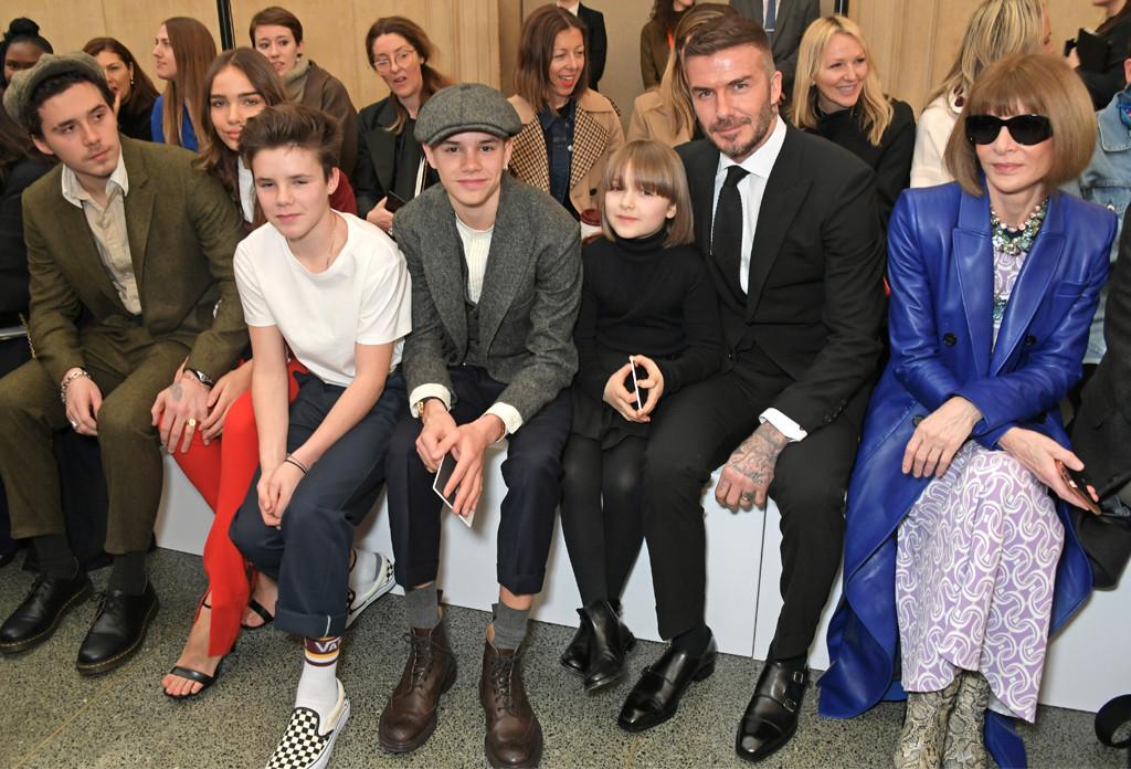 Brooklyn Beckham, Hana Cross, Cruz Beckham, Romeo Beckham, Harper Beckham, David Beckham, Anna Wintour, London Fashion Week 2019