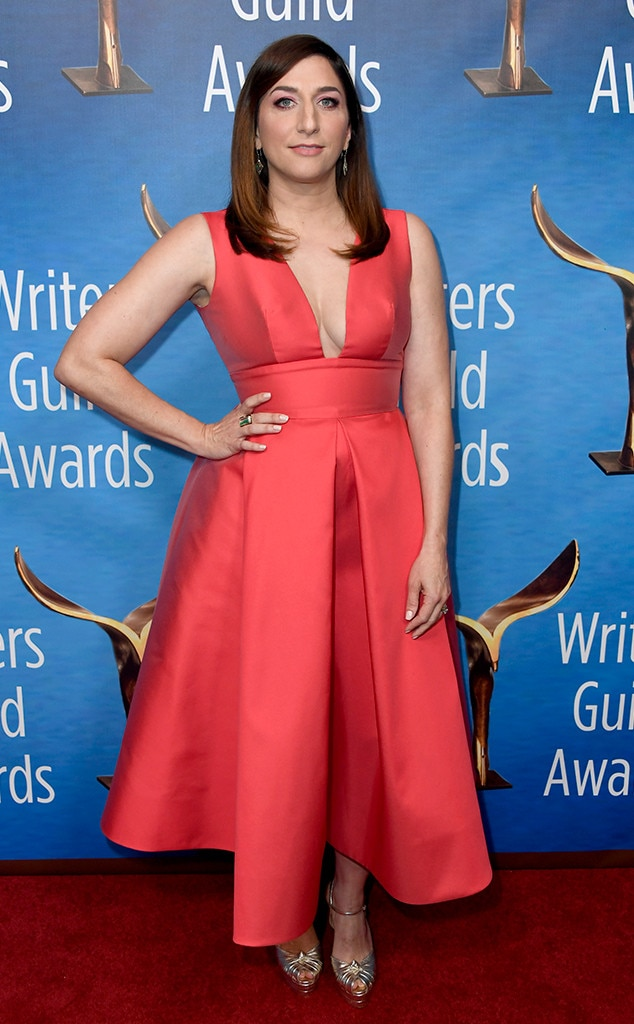 Chelsea Peretti -  The host showcases a red hot look.