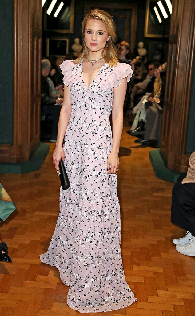 Floral Frock -  Actress  Dianna Agron  shows off a pink floral dress at the Erdem show during London Fashion Week.