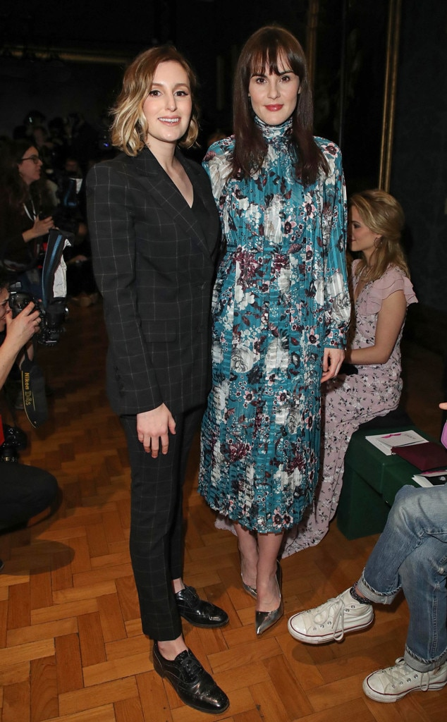 Laura Carmichael & Michelle Dockery -  Lovely ladies! The  Downton Abbey  co-stars are reunited at the Erdem show during London Fashion Week.