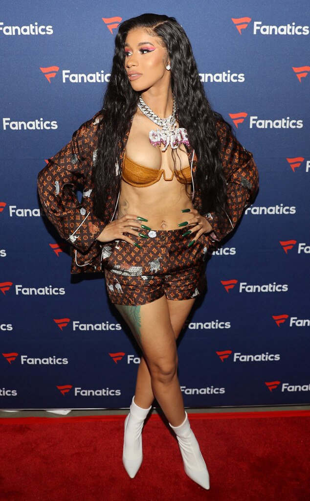 Super Bowl Silk -  Singer  Cardi B  arrives wearing a Louis Vuitton silk pajama short set to the the Fanatics Super Bowl Party in Atlanta.