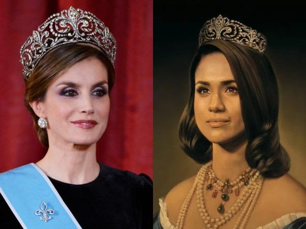 De cómo una tiara de la reina Letizia terminó en la cabeza de Meghan Markle