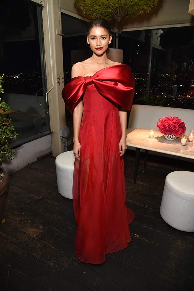 Zendaya -  The actress wows in a stunning red gown at the Vanity Fair andLancôme Toast Women in Hollywood event.