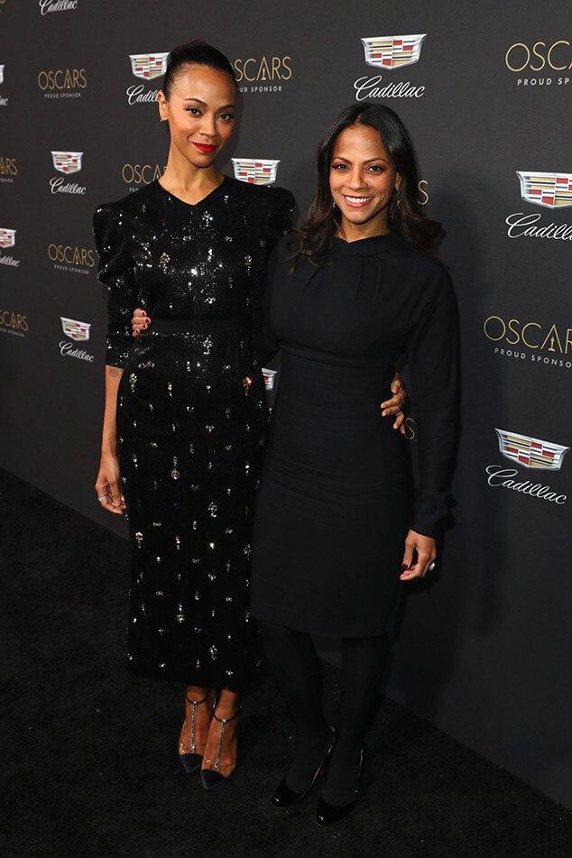 Zoe Saldana and Cisley Saldana -  The sister appear at Cadillac's Oscars weekend cocktail bash.