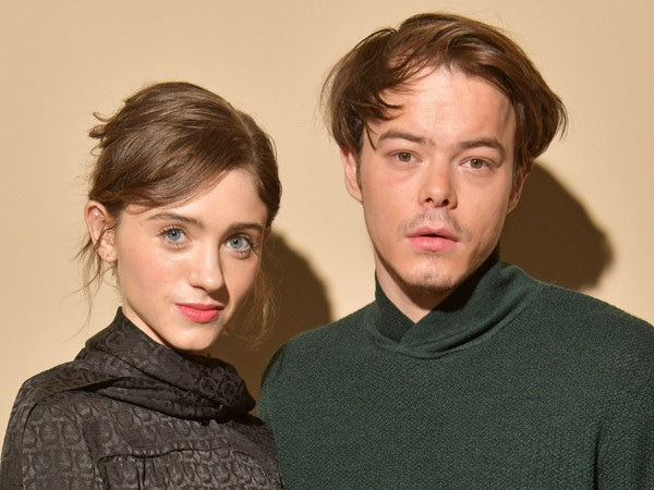 <i>Stranger Things</i>' Natalia Dyer Dazzles in a Red Floral Dress and Boyfriend Charlie Heaton Can't Look Away