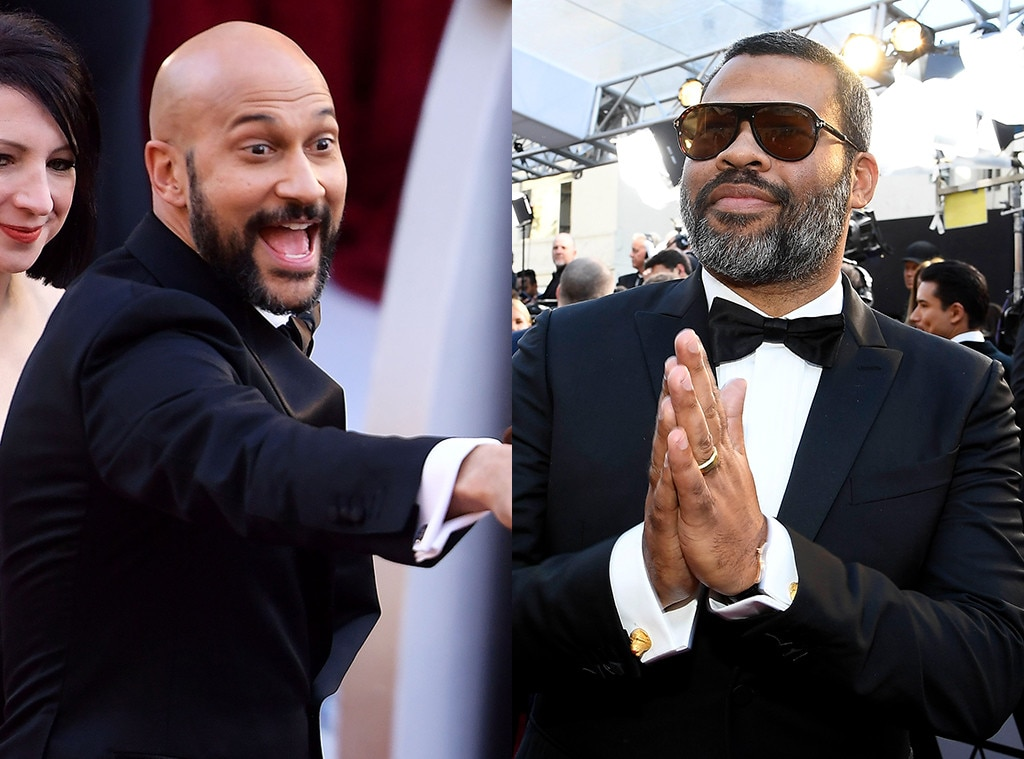 Key and Peele:  Keegan-Michael Key and Jordan Peele -  Why couldn't Peele have flown down on the umbrella alongside Key? Is Jordan Peele too big of a director/producer for shenanigans like that nowadays?