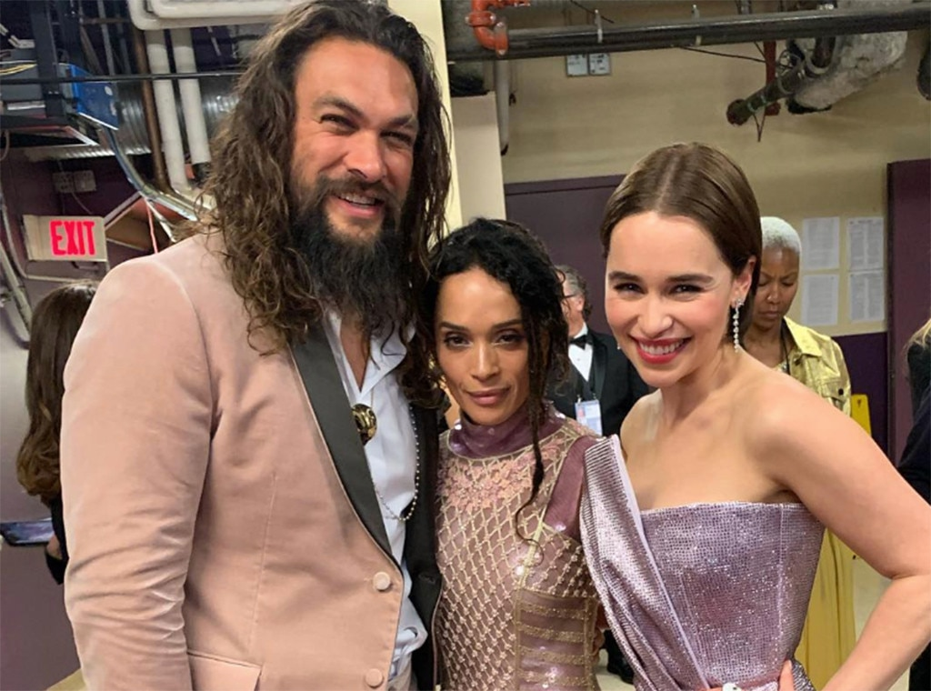 """Game of Thrones : Jason Momoa and Emilia Clarke -  We waited all night for this. """"Me and my QUEENS,"""" Momoa said on Instagram of this pic with his partner, Lisa Bonet, and his TV wife, Emilia Clarke."""