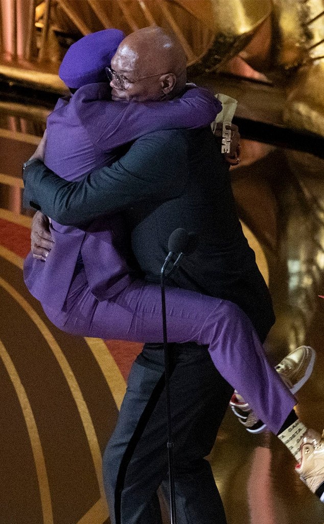 Spike Lee and Samuel L. Jackson -  Have you ever seen anything as cute as  Spike Lee  jumping into  Samuel L. Jackson 's arms after winning his first ever Oscar (for  Blackkklansman )? Because we have not.