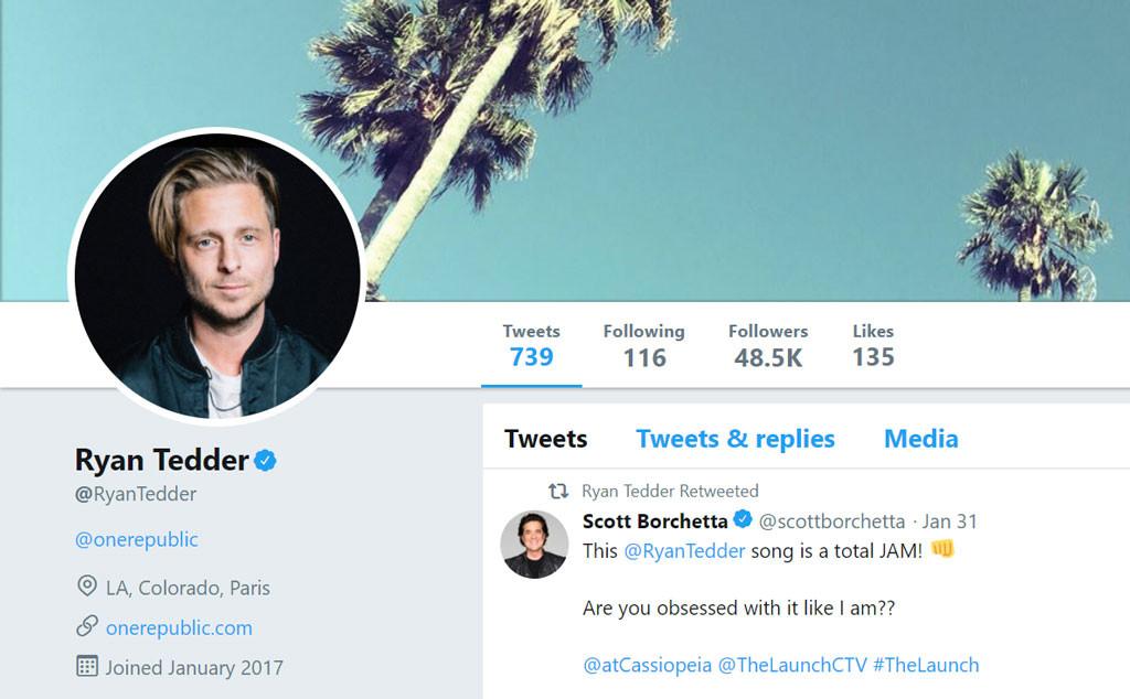 Ryan Tedder, Twitter
