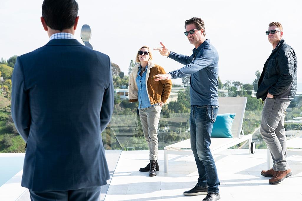 """On Set -  Julie Bowen and co-creator Steven Levitan on set of """"Red Alert."""""""