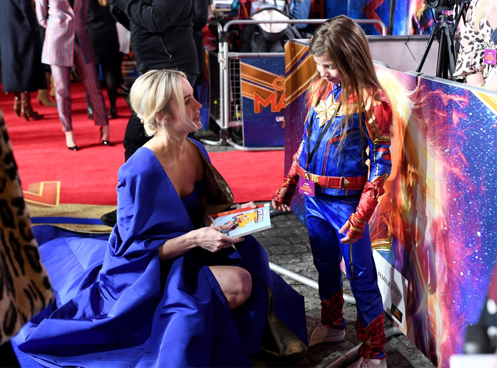 Brie Larson -  The actress chats with her mini-me at the London Premiere.