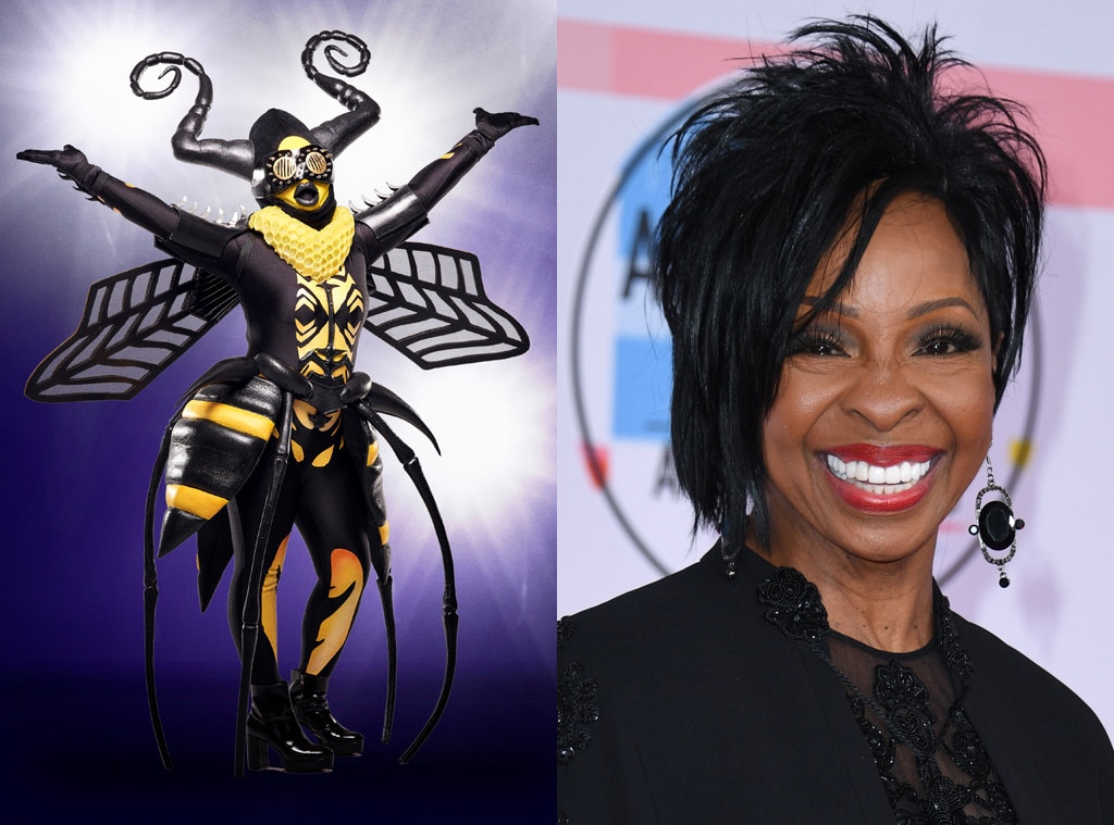 """The Bee -  The Songs: """"Chandelier,"""" """"Locked Out of Heaven,"""" """"Wrecking Ball,"""" """"What's Love Got to Do With It,"""" """"Natural Woman""""  The Clues:  Long career, started in the 50s flown to soaring heights being a """"worker bee"""" keeps her young call her """"Queen bee"""" or """"Empress"""" Wants to sing to new generation Peaches and honey references Faces lift her up Not up on what's happening in the music world today Have to be willing to flip the script Says """"take me to court"""" Mom gave her the idea to form a group at a birthday party when she was 8 """"It was always in the cards"""" Got a record deal and """"All peaches and marmalade ever since"""" It's a trip singing songs other people have written """"it's all in me"""" Never thought she'd be singing a modern power ballad Brought out bakeware: """"This is my second favorite thing to do."""" """"Going back to what I know best"""" """"A few of us queen bees got our groove on back then, so which one am I?"""" Tina Turner is a close friend Has 10 Grammys Loves baking peach cobblers Santa Fe, Grammys Aretha Franklin is a good friend """"I'm a people person. Behind this mask, it's difficult because I'm cut off in a way from you. I need to see you, I need to touch you, I need to feel you, and that's the way it is for me""""  Our Best Guess: Gladys Knight, also known as the """"Empress of Soul""""  The Reveal: Gladys Knight!"""