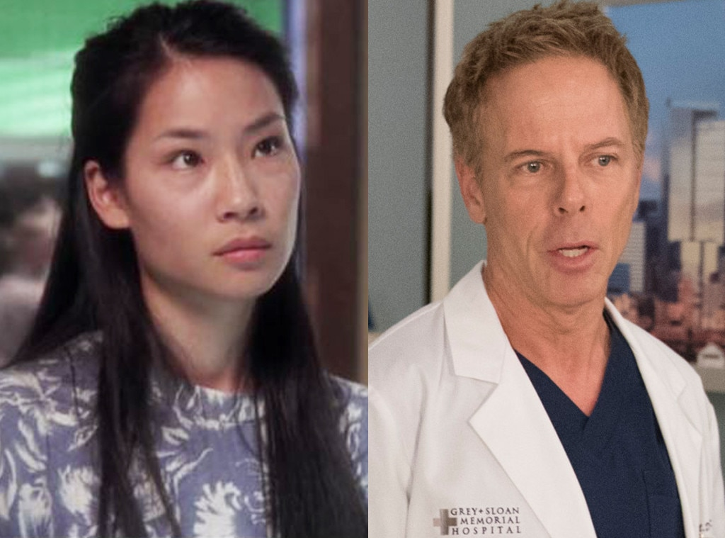 The  Ally McBeal  Lovers -  Once upon a time,  Lucy Liu  and  Greg Germann  got frisky on camera as  Ally McBeal 's oddball Ling Woo and Richard Fish, respectively. They also each appeared on one of the shows in question, with Liu appearing in three 1995 episodes of  ER , while Germann currently recurs as Dr. Tom Koracick on  Grey's .
