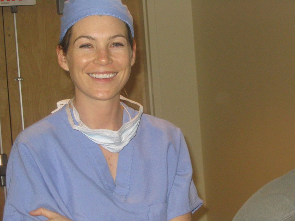 Ellen Pompeo -  On her site, Shonda Rhimes said this photo is Meredith Grey scrubbing in for her first surgery ever.