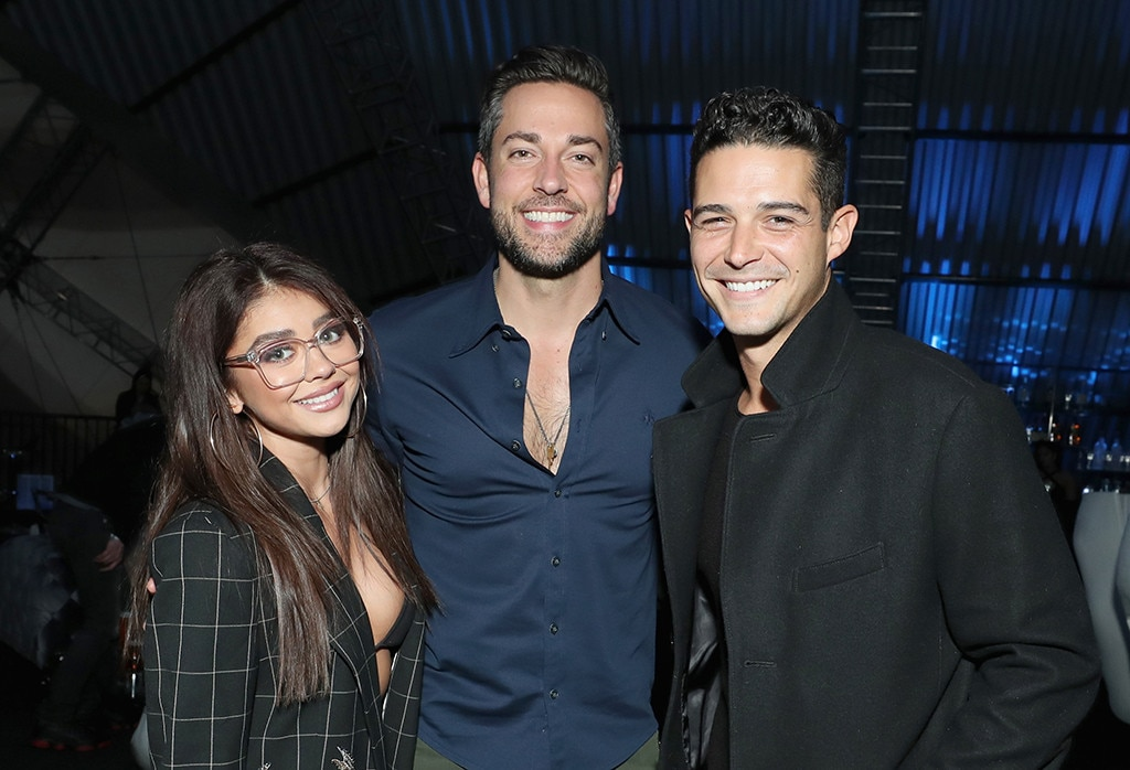 Sarah Hyland, Wells Adams and Zachary Levi -  The Modern Family  star andher Bachelorette  alum boyfriend pose for a pic with the Shazam! actor at theDIRECTV Super Saturday Night 2019 Super Bowl party.