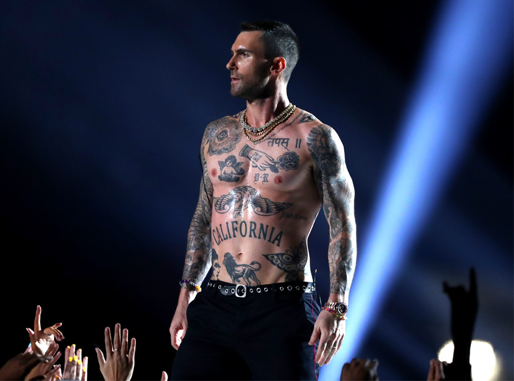 8e2065ca1f0 Adam Levine s Nipples and Tank Top at the 2019 Super Bowl Raise Eyebrows