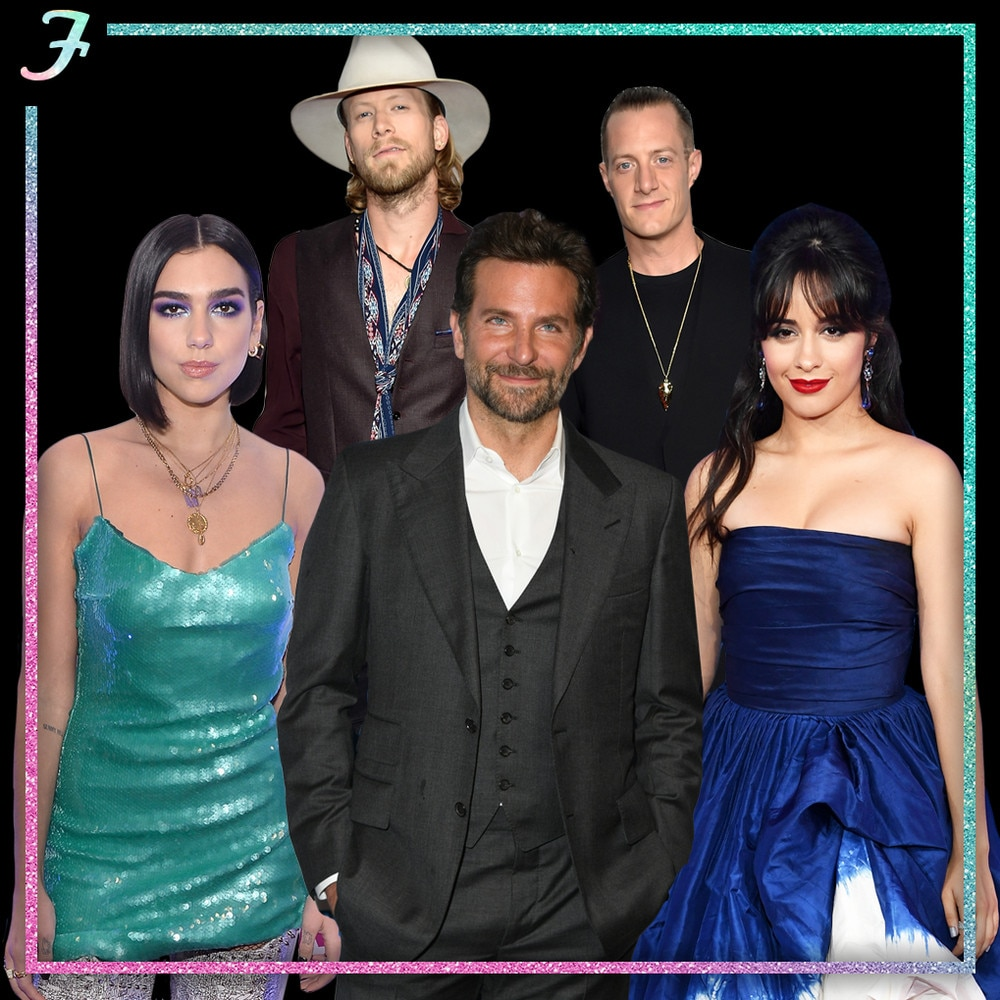 "F: First-Time Nominees -  There are a handful of big stars who are up for their very first Grammys during Sunday's ceremony, including  Dua Lipa  (up for Best New Artist and Best Dance Recording),  Florida Georgia Line  (up for Best Country Duo/Group Performance),  Camila Cabello  (up for Best Pop Solo Performance and Best Pop Vocal Album), and, of course,  Bradley Cooper. Should the  A Star Is Born  director take home either Record of the Year or Best Pop Duo/Group Performance for the film's standout duet with  Lady Gaga , ""Shallow""—which, let's be honest, there's a very good chance he will—he'll become a Grammy winner before  this whole list  of music industry superstars."