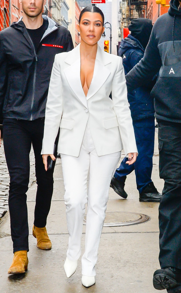 Suited Up -  The reality TV personality is definitely wearing her faves during NYFW, because her white-hot blazer is courtesy of Helmut Lang, while her matching pointed mules are Céline.