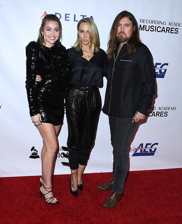 Miley Cyrus, Billy Ray Cyrus, Tish Cyrus, MusiCares Person of the Year 2019, Pre-Grammys Party