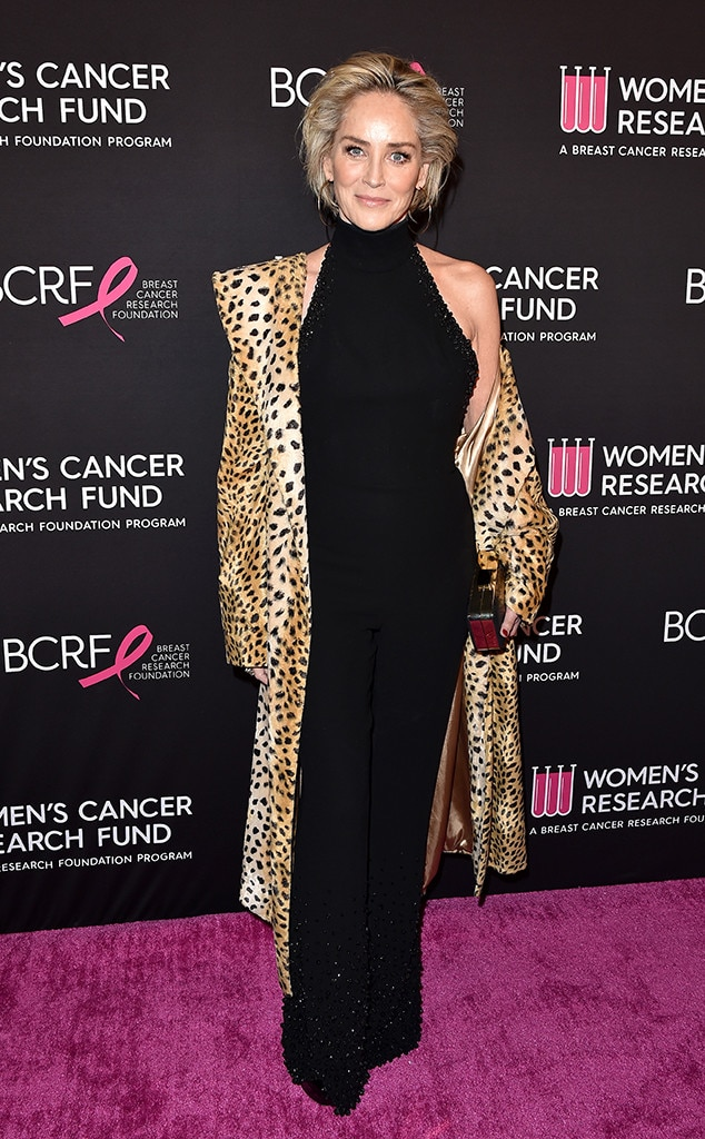 Sharon Stone -  The actress popped on the red carpet in a cheetah print coat.