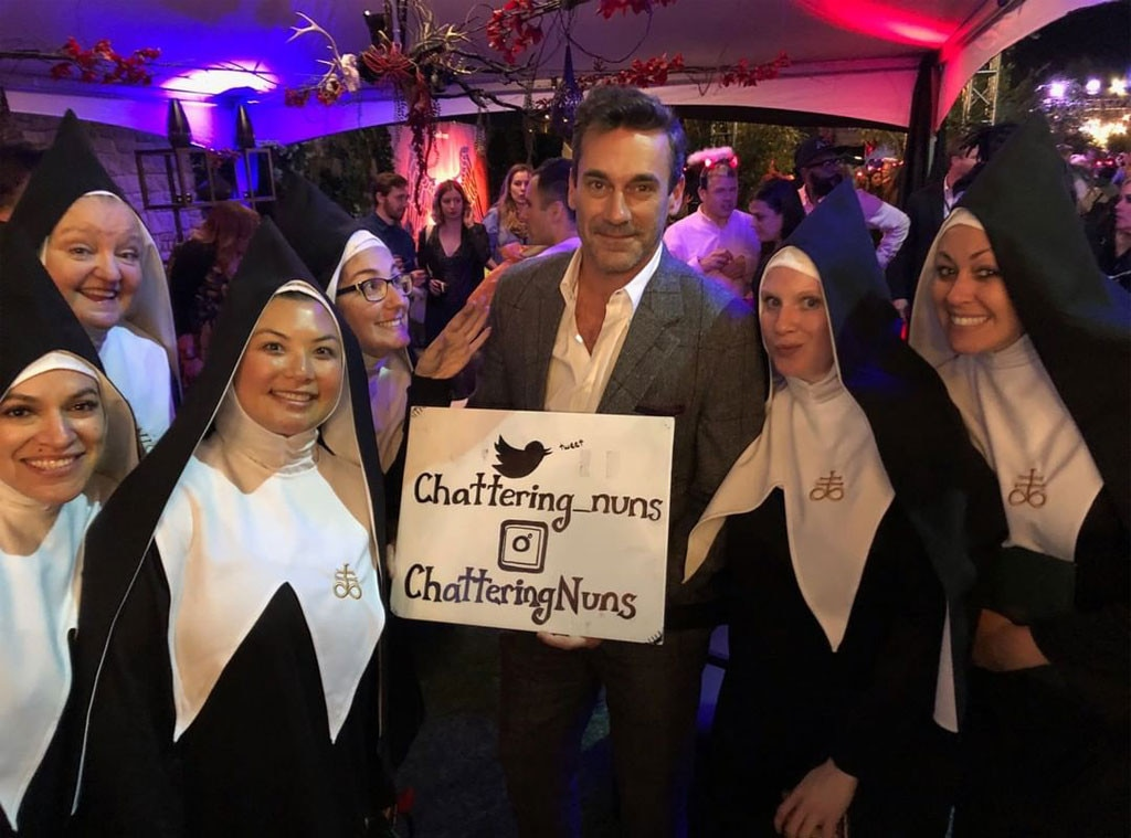 "Jon Hamm & Nuns -  Jon Hamm is wished a happy birthday by some a capella-singing nuns at the ""Saints & Sinners"" party."