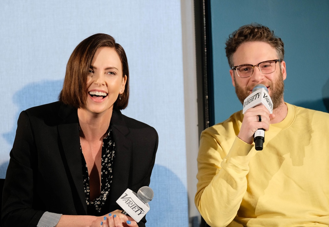 Charlize Theron & Seth Rogen -  What a laugh! The  Long Shot  co-stars can't help but have fun at a panel during SXSW Conference & Festival in Austin, Texas.