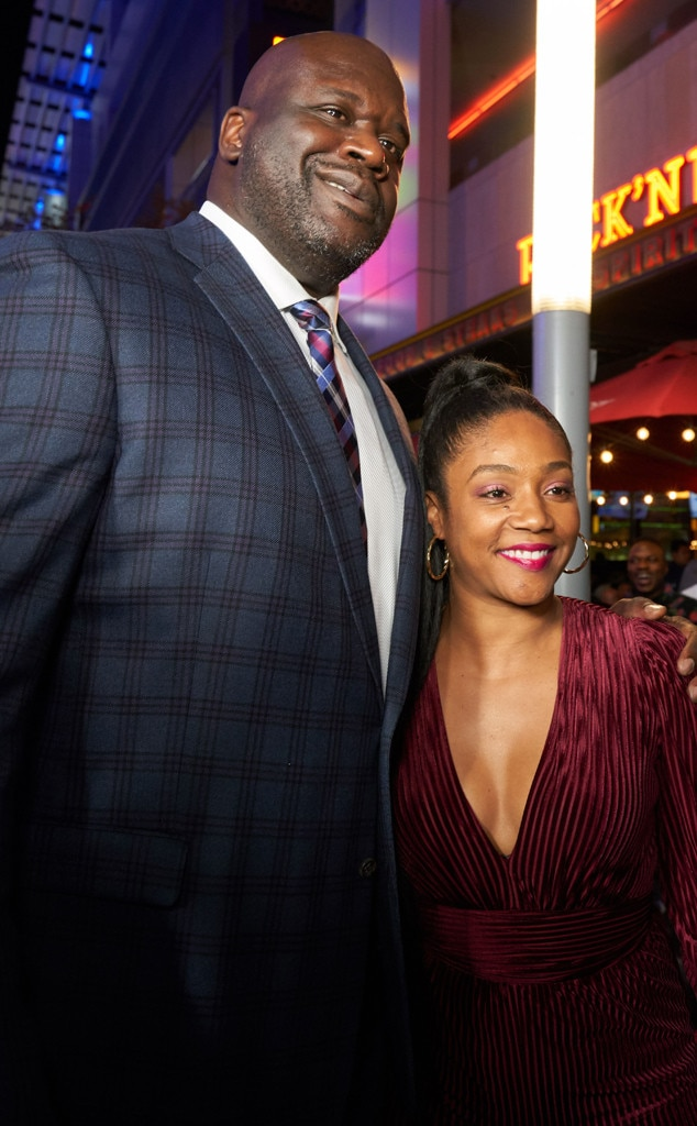 Shaquille O'Neal & Tiffany Haddish -  The NBA legend hosts celebrity guests at the grand opening of his new namesake restaurant Shaquille's at L.A. Live.
