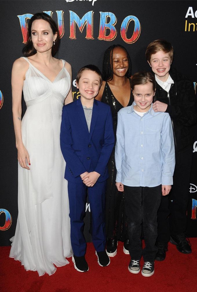 Angelina Jolie, Knox Jolie-Pitt, Zahara, Vivienne, Shiloh, Dumbo Premiere