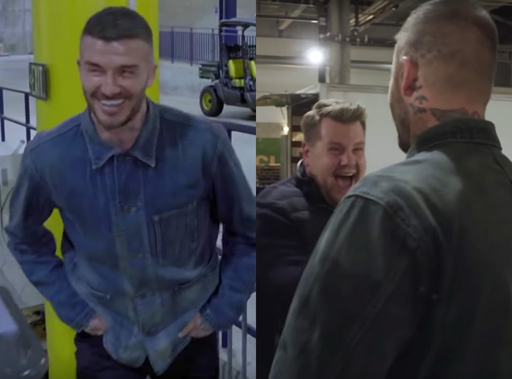 David Beckham, James Corden, Statue Prank