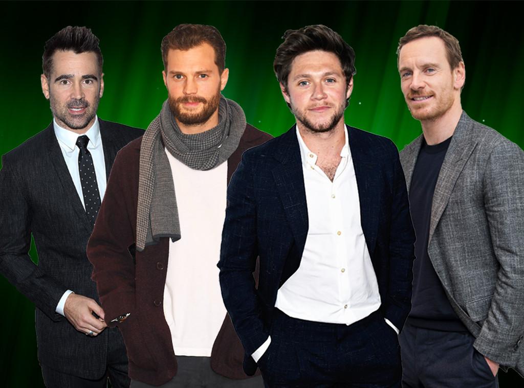 Colin Farrell, Jamie Dornan, Niall Horan, Michael Fassbender, Irish Stars Collage