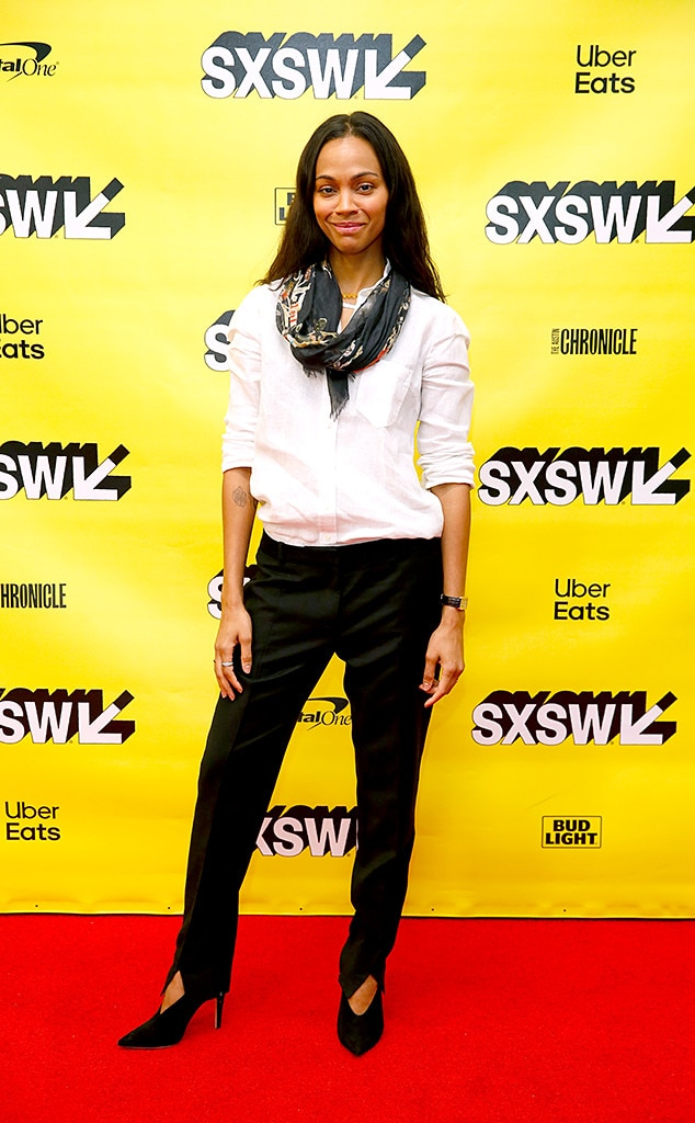 Zoe Saldana -  The  Avatar  actress sported a modern and chic ensemble while attending SXSW. We especially love the touch of a colorful scarf to her otherwise neutral look.