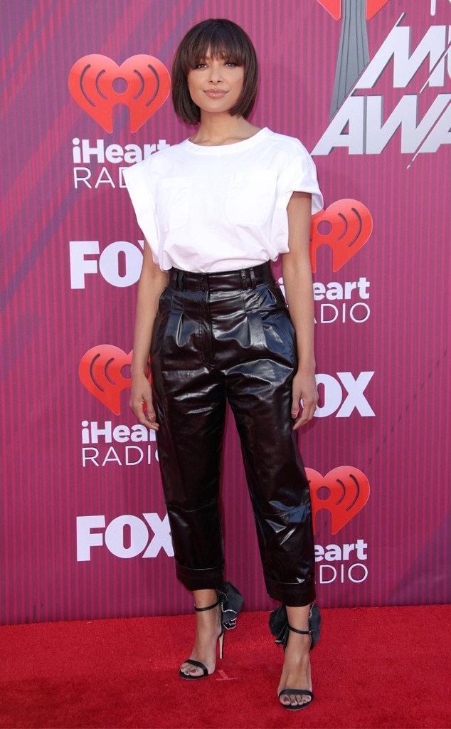 Kat Graham -  The actress showed off her signature style in this modern Alberta Ferretti top, Philosophy di Lorenzo Serafini leather pants and Giuseppe Zanotti heels.