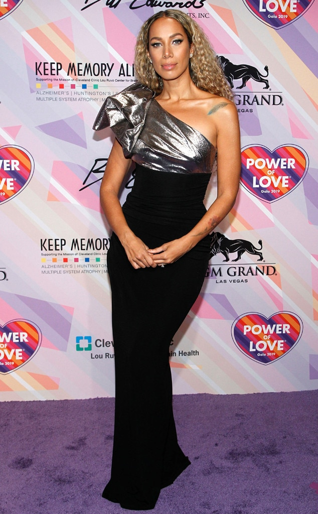 Silver Bow -  Singer  Leona Lewis  wears a sleek black gown with a metallic asymmetrical bow at the Keep Memory Alive Power Of Love Gala in Las Vegas.
