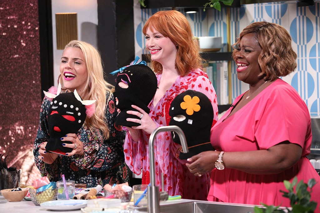 Christina Hendricks & Retta -  Getting crafty! The  Good Girls  co-stars channel their TV alter egos by  bedazzling some ski masks with Busy .