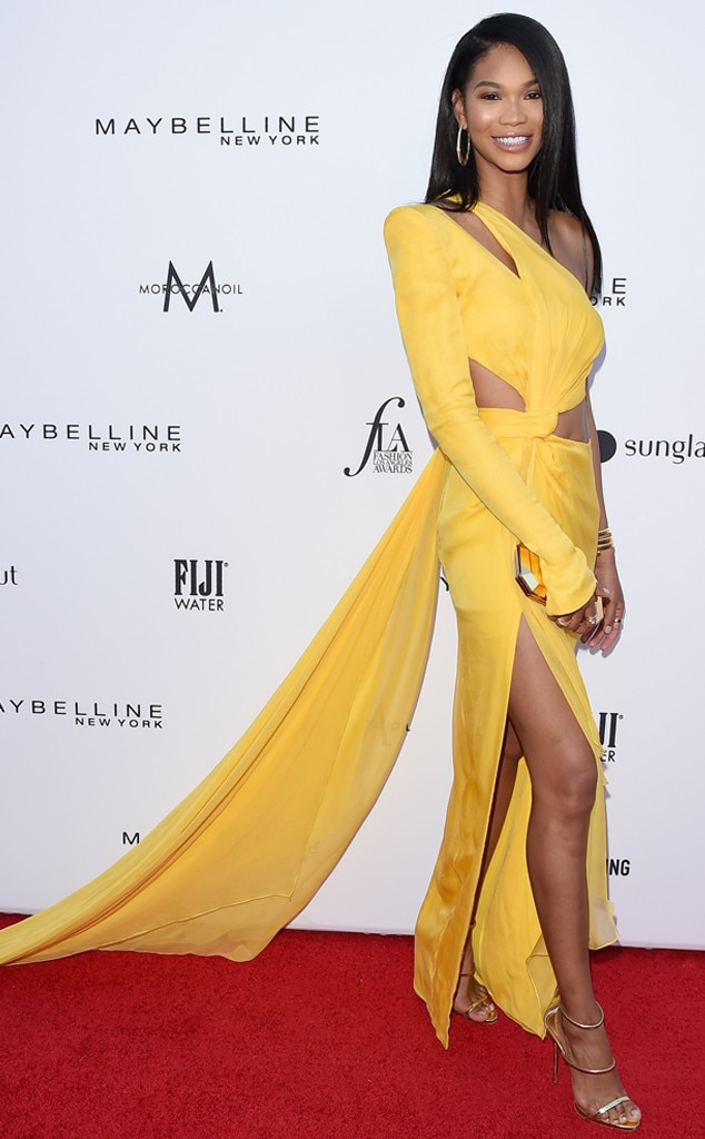 Chanel Iman -  The model was all smiles in herJulien Macdonald gown.