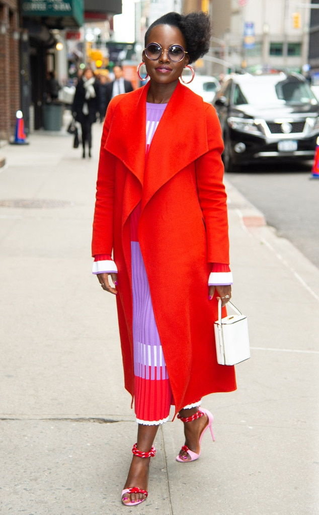 Lupita Nyong'o -  Colorblocking queen! The  Black Panther  star is bright and beautiful heading into  The Late Show with Stephen Colbert  in NYC.