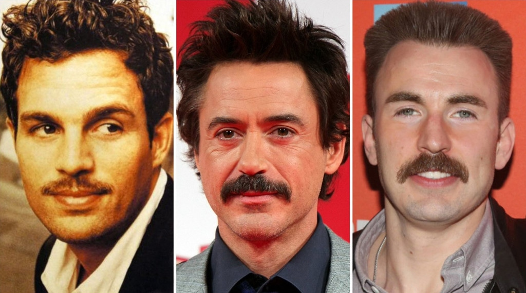Mark Ruffalo, Robert Downey Jr., Chris Evan, Mustache