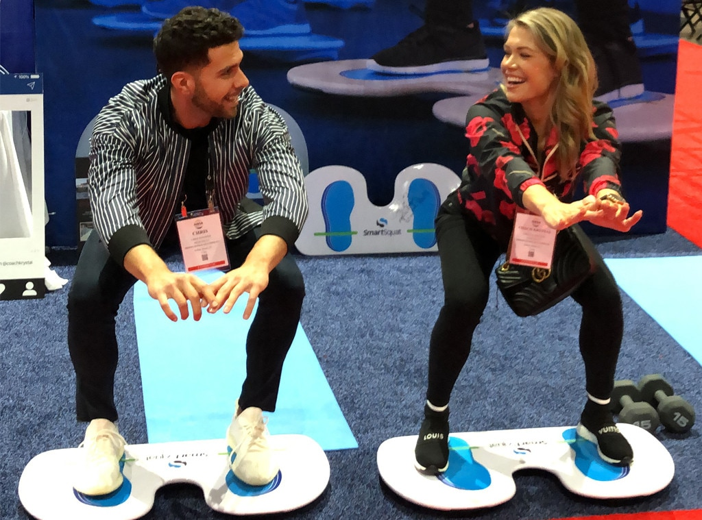 Krystal Nielson & Chris Randone -  The Bachelor in Paradise star try out the SmartSquat, which delivers a full body workout in under 15 minutes, at the IHRSA fitness trade show.