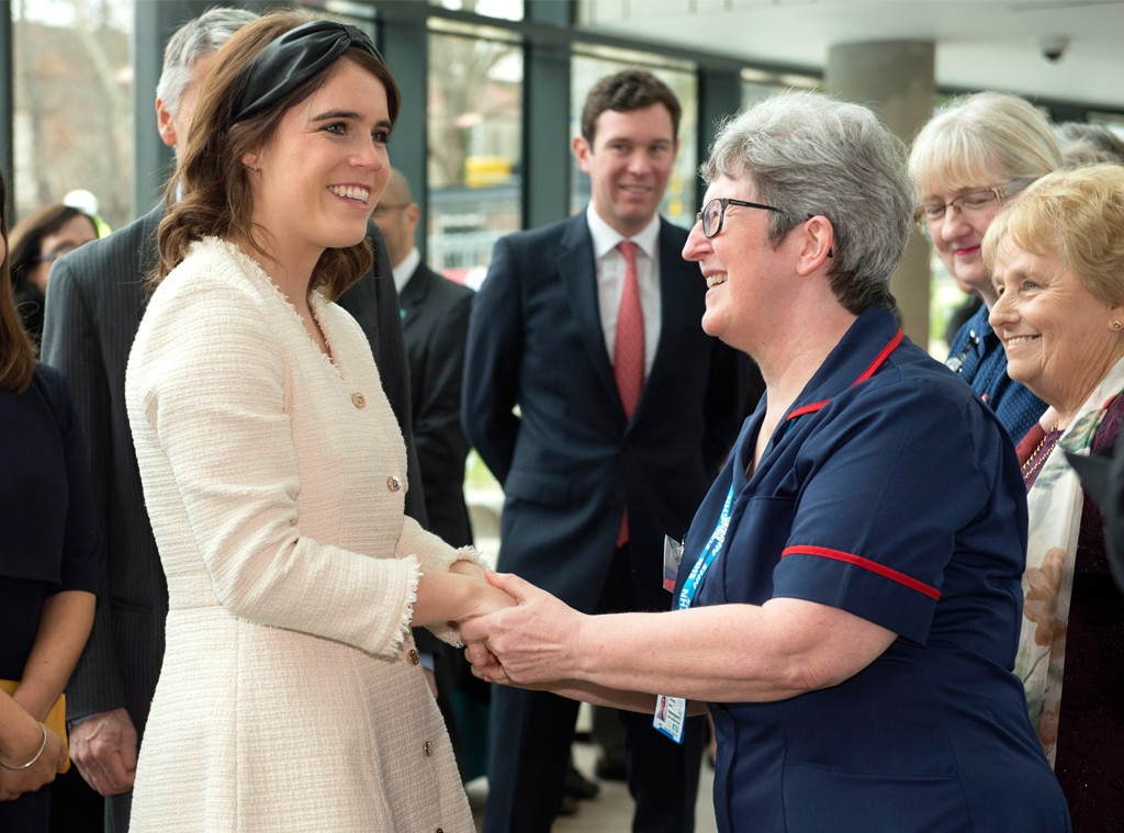 Princess Eugenie -  Royal handshake! Theprincess is warmly greeted by a nurse as she visits the Royal National Orthopaedic Hospital in London.