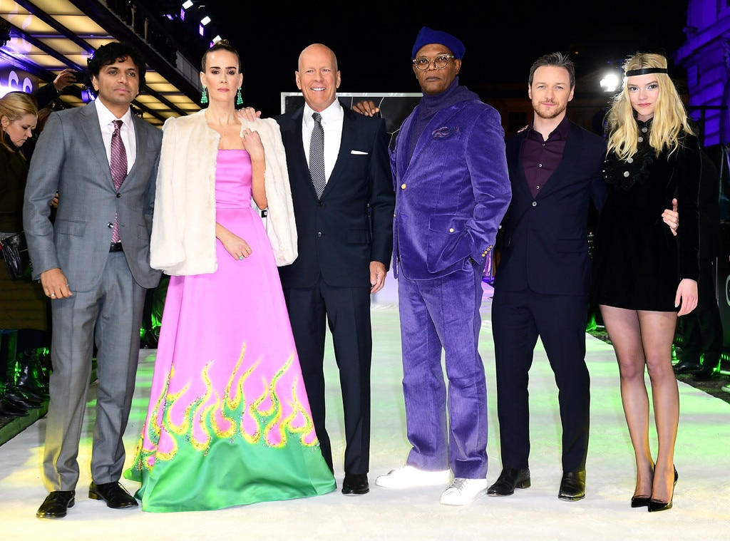 M. Night Shyamalan, Sarah Paulson, Bruce Willis, Samuel K. Jackson, James McAvoy & Anya Taylor-Joy -  The  Glass  cast stand tall at the London premiere.
