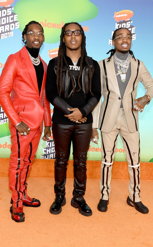 Offset, Takeoff and Quavo -  The hip hop trio,  Migos , arrive at the star-studded even decked out in one-of-a-kind suits.