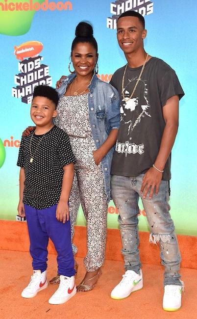 Nia Long, Kez Sunday Udoka, Massai Zhivago Dorsey II, Nickelodeon 2019 Kids Choice Awards, Arrivals