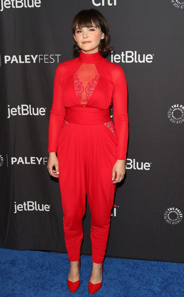 Cherry Picked -  Actress  Ginnifer Goodwin  stuns in a red jumpsuit with lace and ruching details and matching red pumps while attending PaleyFest.