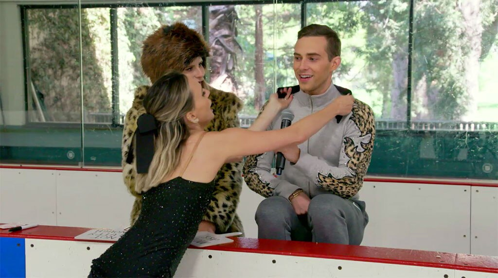 Adam Rippon -  Keltie almost takes out the Olympian during an ice skating challenge...and  his reaction is priceless !
