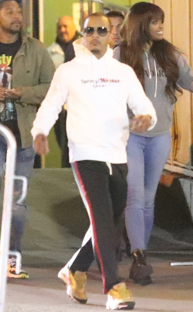 T.I. -  The rapper was spotted on his way out in a sweatshirt and track pants.