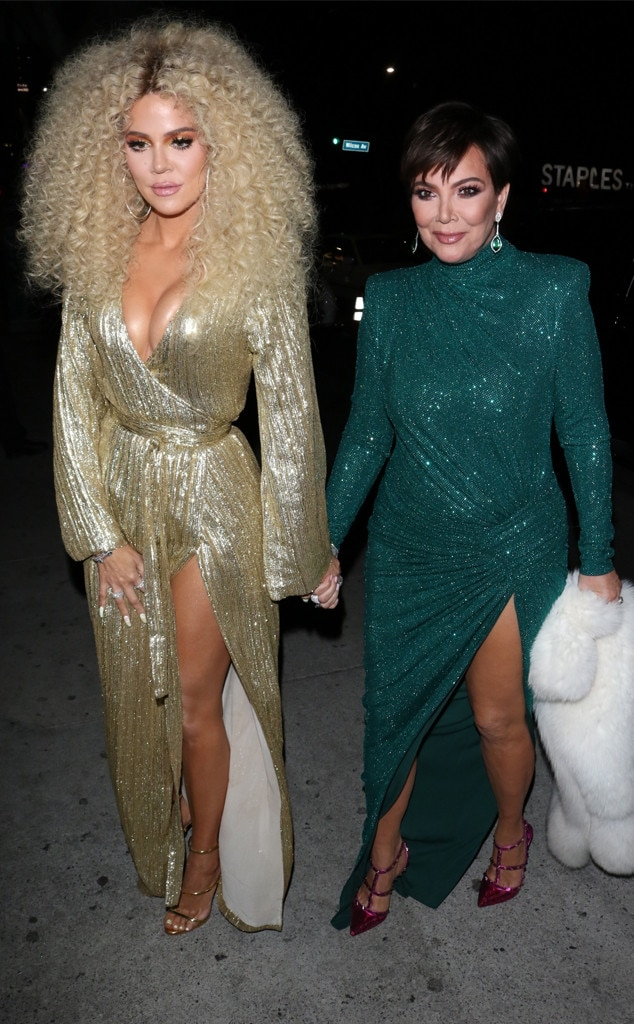 Khloe Kardashian & Kris Jenner -  The reality star mother and daughter dazzled in glamorous sequin gowns.