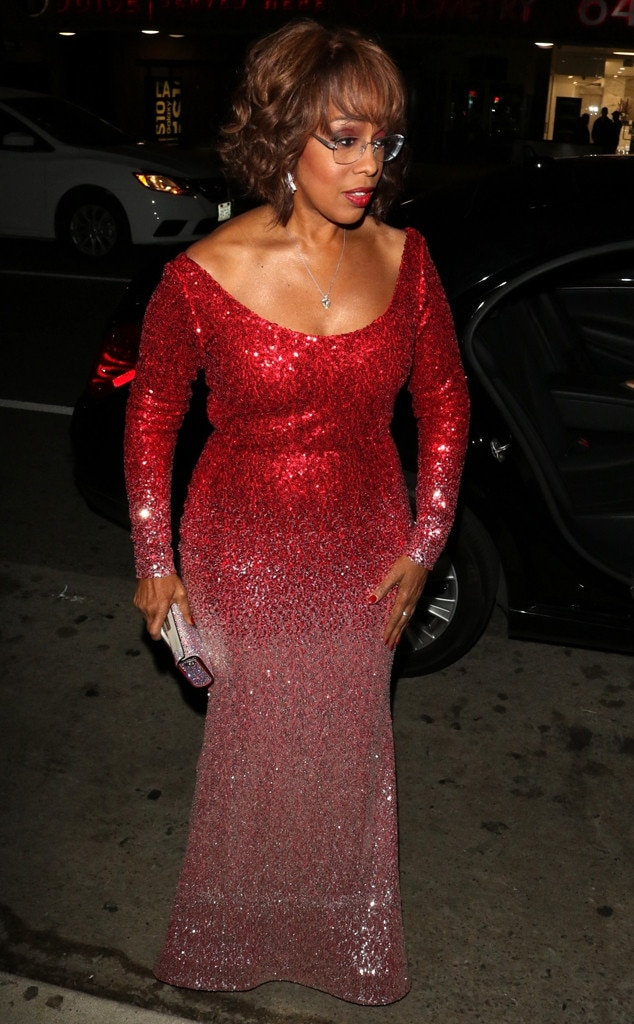 Gayle King -  The  CBS This Morning  co-anchor sparkled in a red ombre, sequin gown.