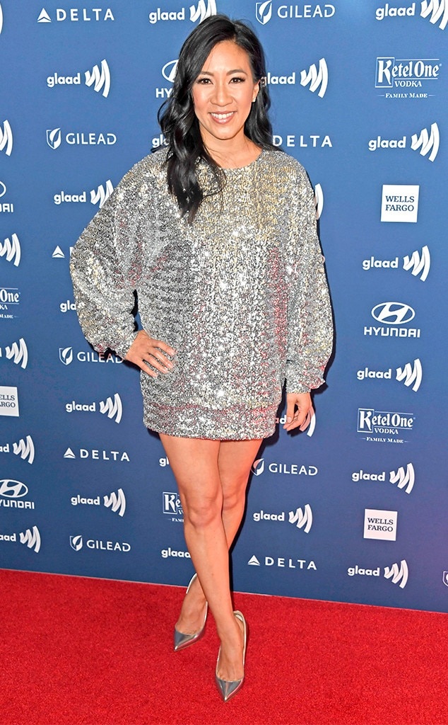 Michelle Kwan -  The Olympic figure skater channels her inner ice queen in a silver sequined mini-dress.